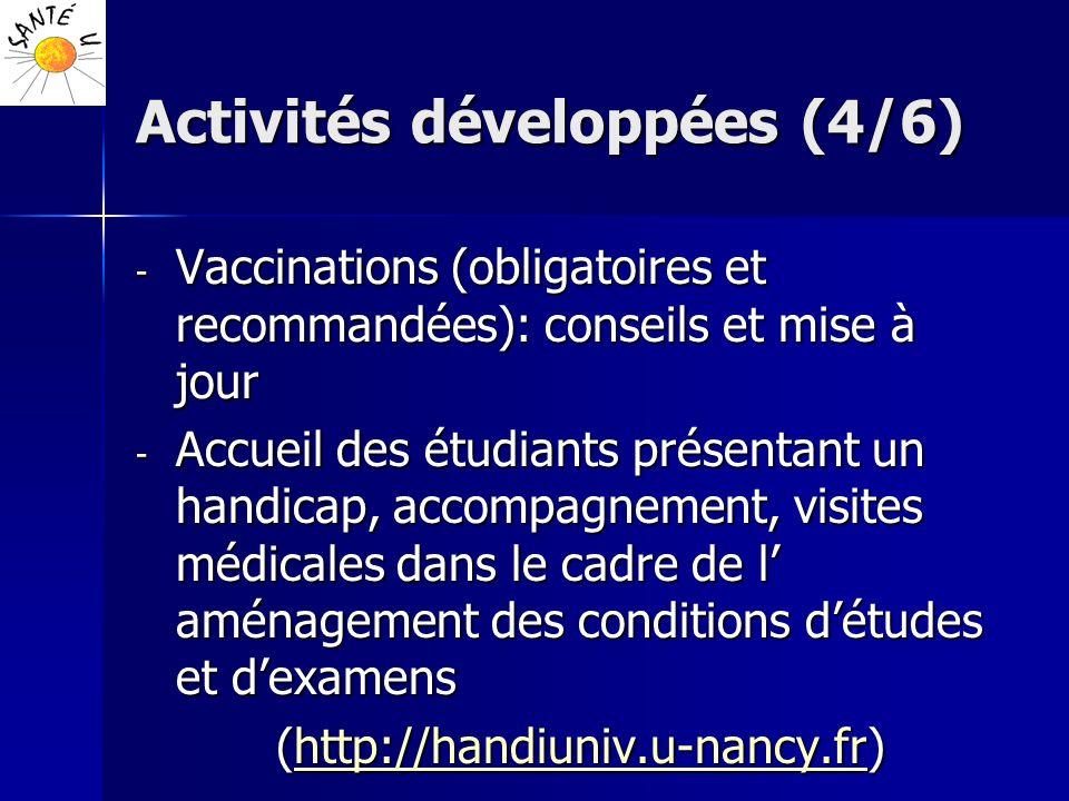 Activités développées (4/6) - Vaccinations (obligatoires et recommandées): conseils et mise à jour - Accueil des étudiants présentant un handicap, acc