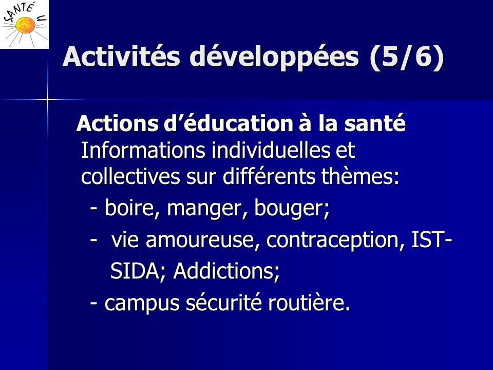 Activités développées (5/6) Actions déducation à la santé Informations individuelles et collectives sur différents thèmes: Actions déducation à la san