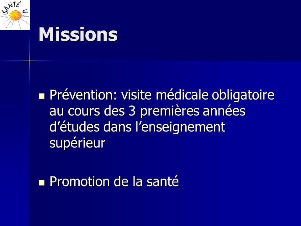 Missions Prévention: visite médicale obligatoire au cours des 3 premières années détudes dans lenseignement supérieur Prévention: visite médicale obli