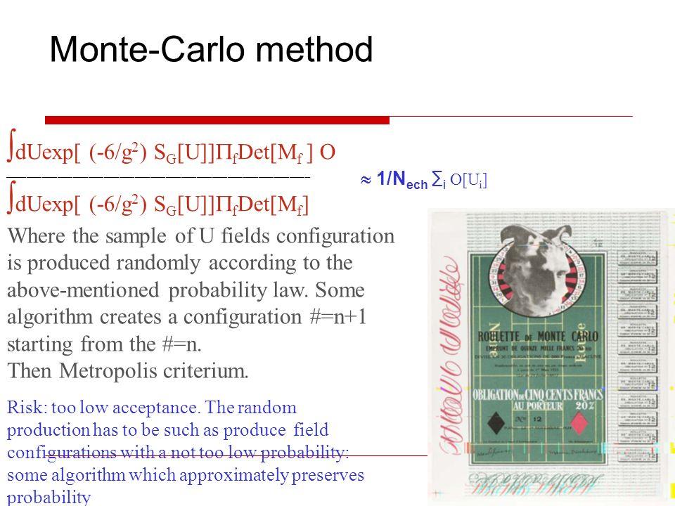 Monte-Carlo method dUexp[ (-6/g 2 ) S G [U]] f Det[M f ] O ___________________________________________________________ dUexp[ (-6/g 2 ) S G [U]] f Det