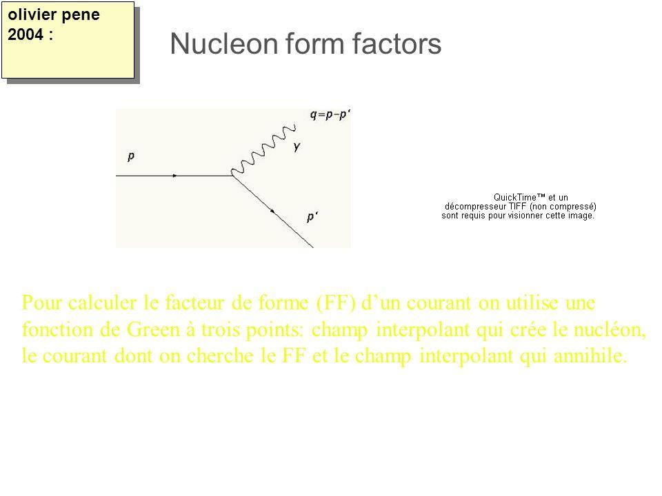 Pour calculer le facteur de forme (FF) dun courant on utilise une fonction de Green à trois points: champ interpolant qui crée le nucléon, le courant