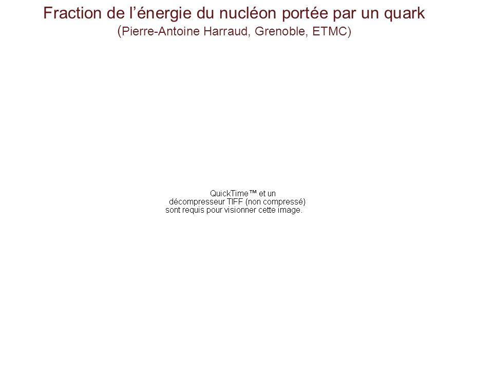 Fraction de lénergie du nucléon portée par un quark ( Pierre-Antoine Harraud, Grenoble, ETMC)