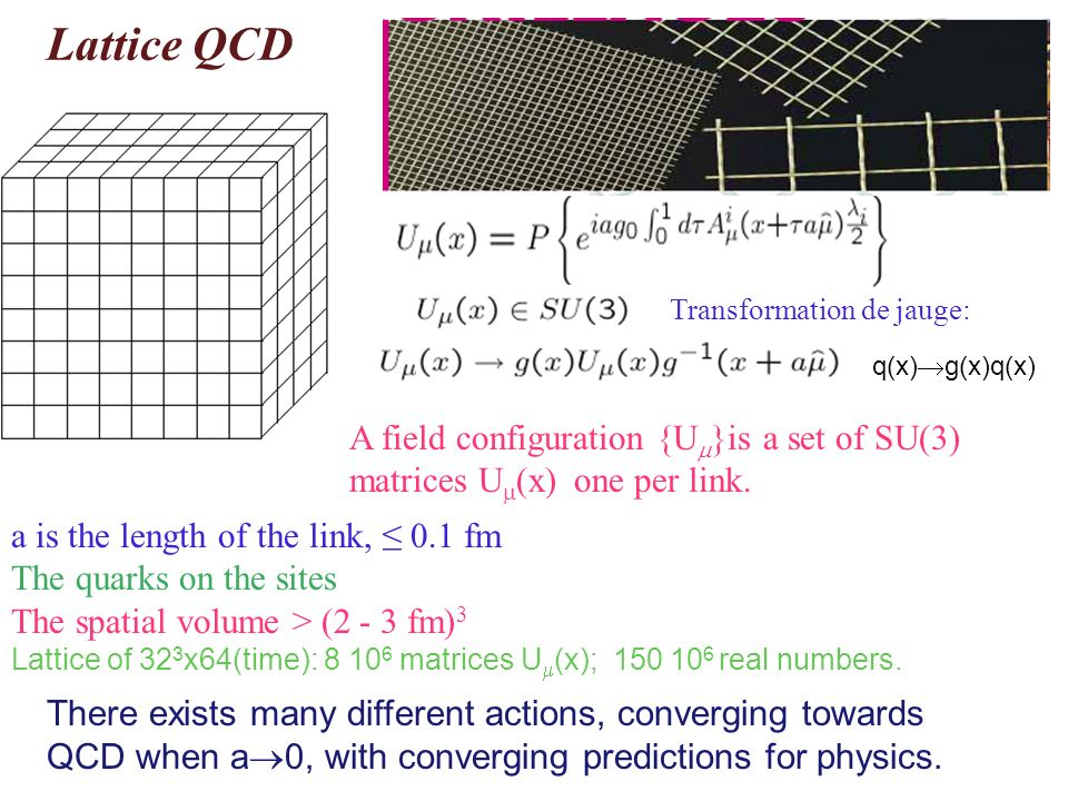 Lattice QCD Transformation de jauge: a is the length of the link, 0.1 fm The quarks on the sites The spatial volume > (2 - 3 fm) 3 Lattice of 32 3 x64