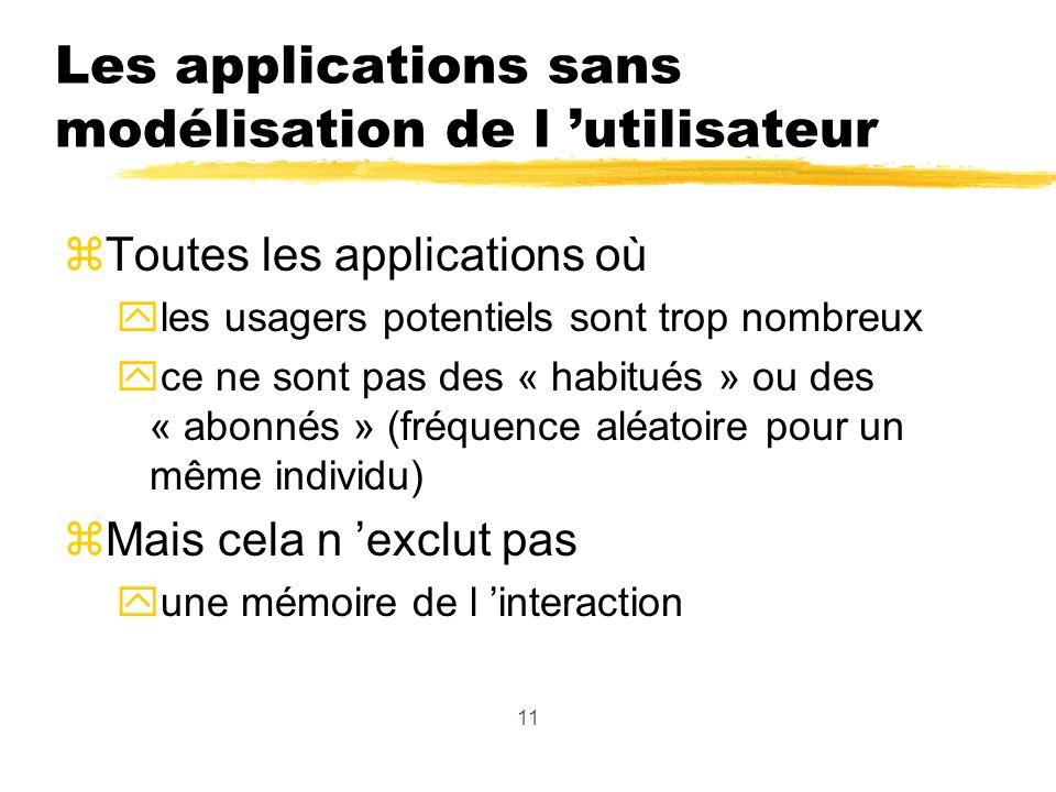 11 Les applications sans modélisation de l utilisateur zToutes les applications où yles usagers potentiels sont trop nombreux yce ne sont pas des « habitués » ou des « abonnés » (fréquence aléatoire pour un même individu) zMais cela n exclut pas yune mémoire de l interaction