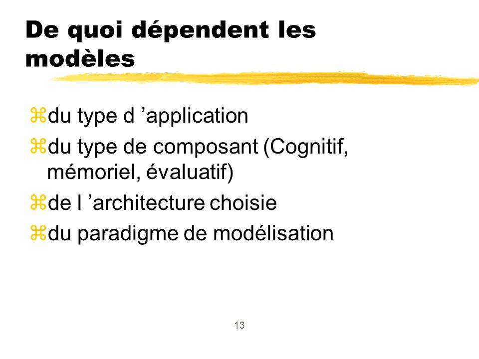 13 De quoi dépendent les modèles zdu type d application zdu type de composant (Cognitif, mémoriel, évaluatif) zde l architecture choisie zdu paradigme de modélisation