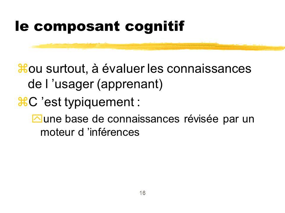 16 le composant cognitif zou surtout, à évaluer les connaissances de l usager (apprenant) zC est typiquement : yune base de connaissances révisée par un moteur d inférences