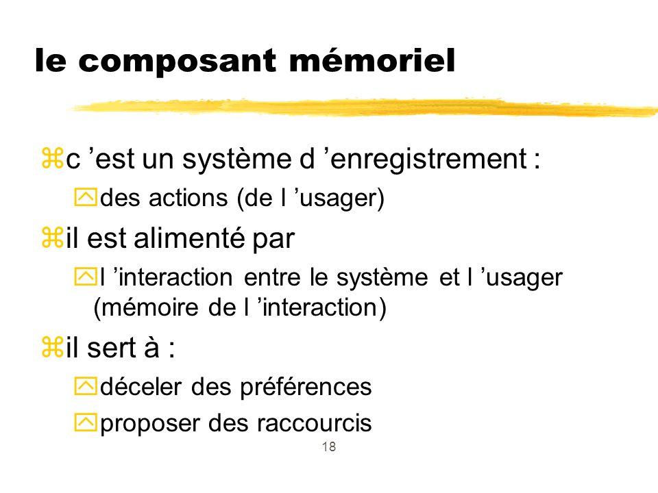 18 le composant mémoriel zc est un système d enregistrement : ydes actions (de l usager) zil est alimenté par yl interaction entre le système et l usager (mémoire de l interaction) zil sert à : ydéceler des préférences yproposer des raccourcis