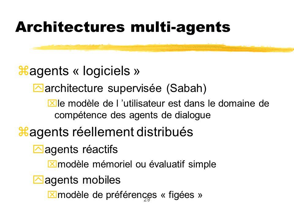 29 Architectures multi-agents zagents « logiciels » yarchitecture supervisée (Sabah) xle modèle de l utilisateur est dans le domaine de compétence des agents de dialogue zagents réellement distribués yagents réactifs xmodèle mémoriel ou évaluatif simple yagents mobiles xmodèle de préférences « figées »