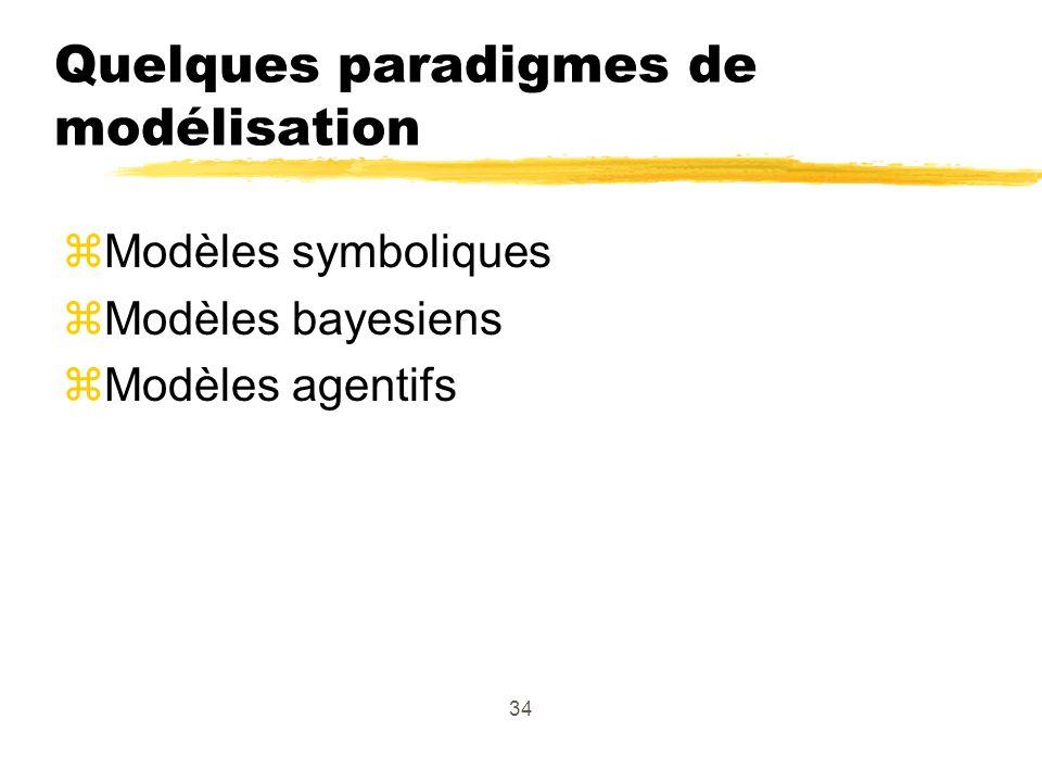 34 Quelques paradigmes de modélisation zModèles symboliques zModèles bayesiens zModèles agentifs