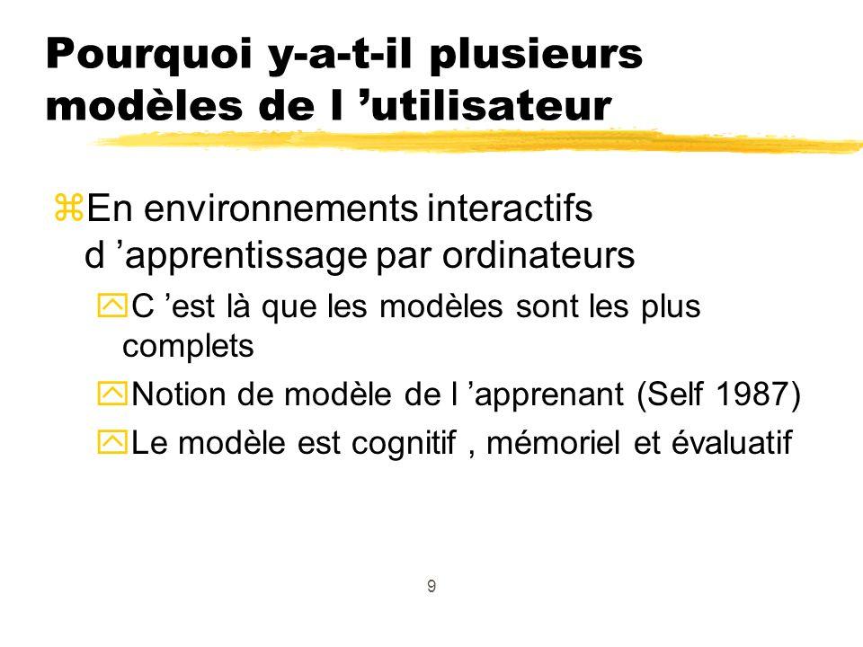 9 Pourquoi y-a-t-il plusieurs modèles de l utilisateur zEn environnements interactifs d apprentissage par ordinateurs yC est là que les modèles sont les plus complets yNotion de modèle de l apprenant (Self 1987) yLe modèle est cognitif, mémoriel et évaluatif