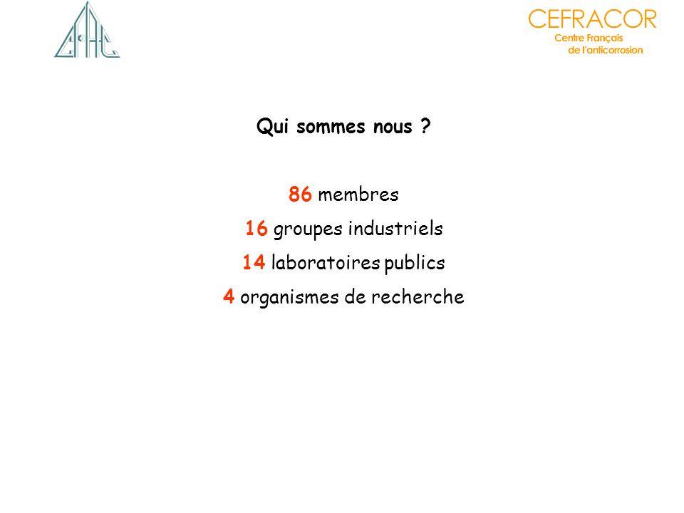 86 membres 16 groupes industriels 14 laboratoires publics 4 organismes de recherche