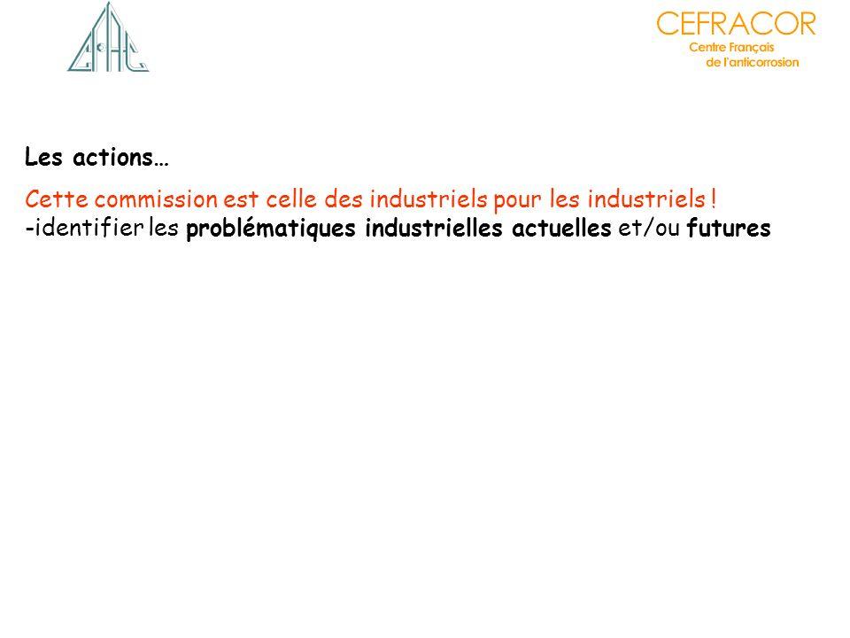Les actions… Cette commission est celle des industriels pour les industriels ! -identifier les problématiques industrielles actuelles et/ou futures