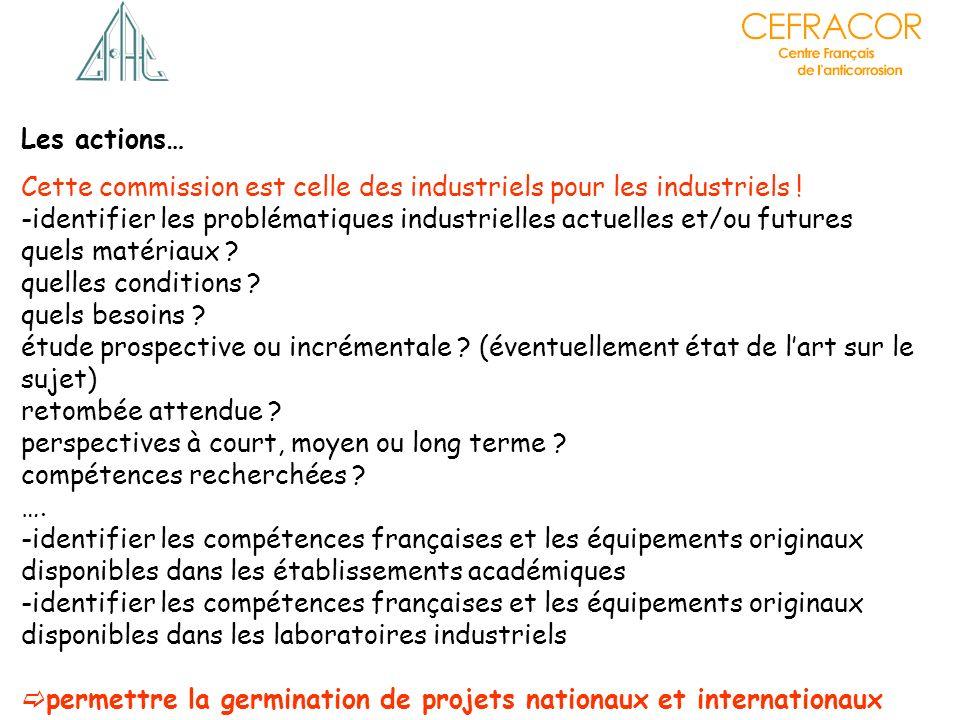 Les actions… Cette commission est celle des industriels pour les industriels ! -identifier les problématiques industrielles actuelles et/ou futures qu