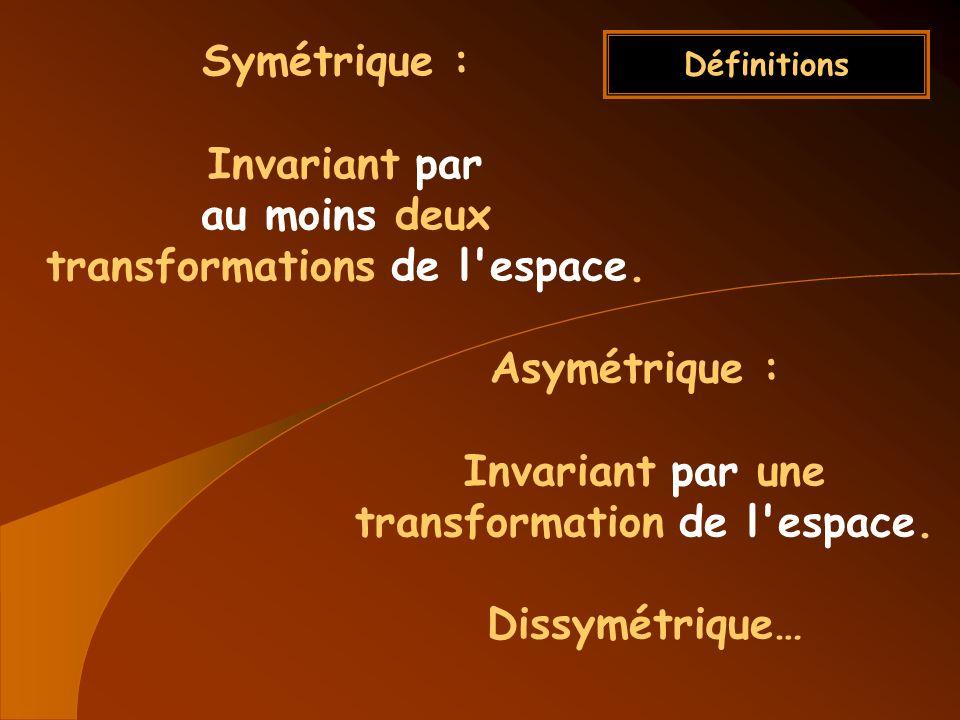 Définitions Symétrique : Invariant par au moins deux transformations de l'espace. Asymétrique : Invariant par une transformation de l'espace. Dissymét