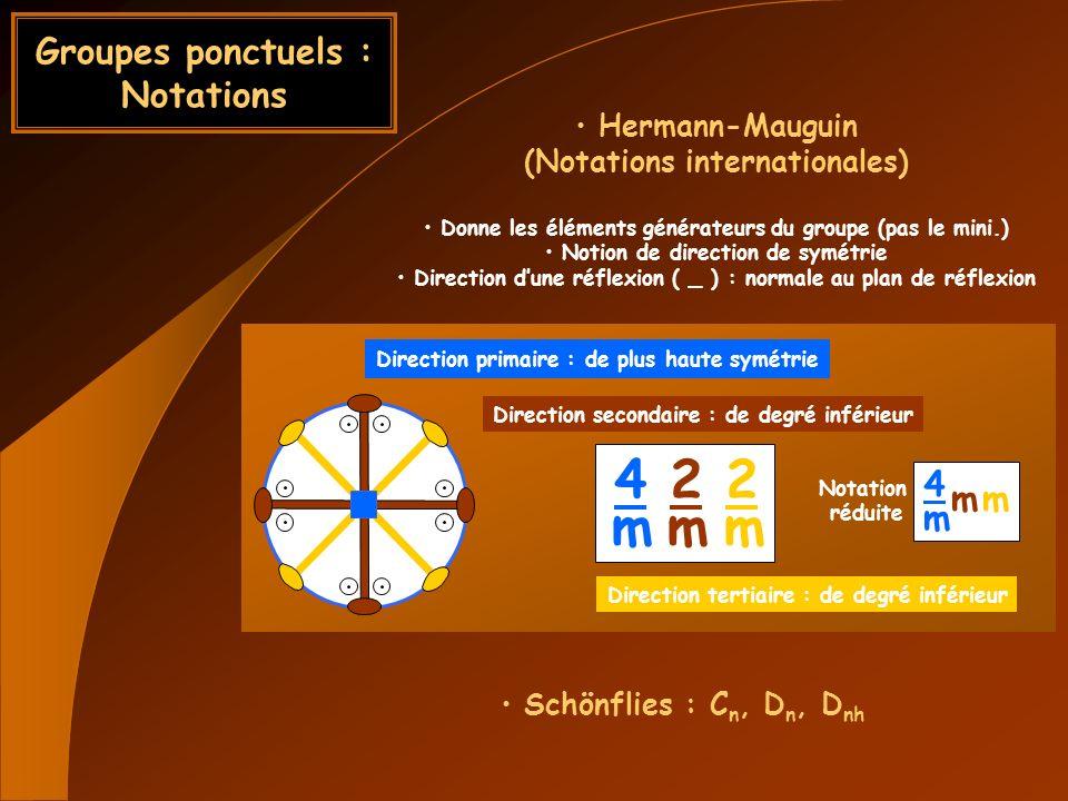 Groupes ponctuels : Notations Schönflies : C n, D n, D nh Hermann-Mauguin (Notations internationales) Donne les éléments générateurs du groupe (pas le