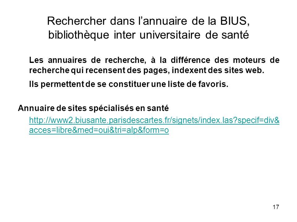 17 Rechercher dans lannuaire de la BIUS, bibliothèque inter universitaire de santé Les annuaires de recherche, à la différence des moteurs de recherch