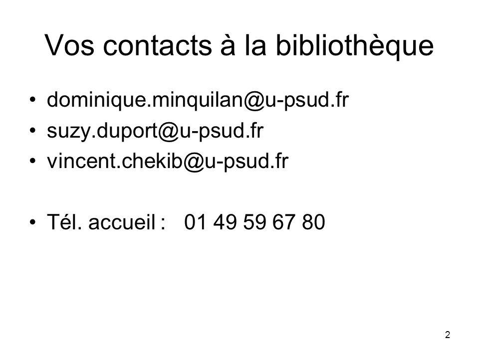 2 Vos contacts à la bibliothèque dominique.minquilan@u-psud.fr suzy.duport@u-psud.fr vincent.chekib@u-psud.fr Tél. accueil : 01 49 59 67 80