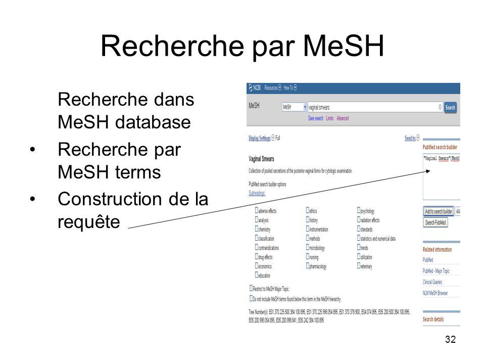 32 Recherche par MeSH Recherche dans MeSH database Recherche par MeSH terms Construction de la requête