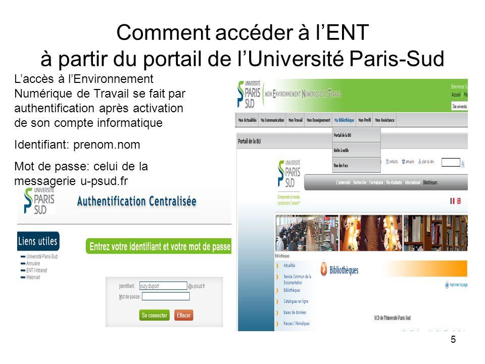 5 Comment accéder à lENT à partir du portail de lUniversité Paris-Sud Laccès à lEnvironnement Numérique de Travail se fait par authentification après