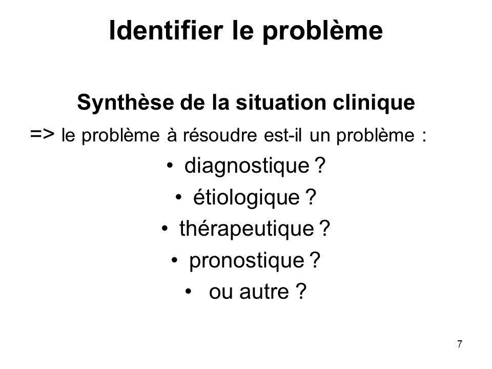 7 Identifier le problème Synthèse de la situation clinique => le problème à résoudre est-il un problème : diagnostique ? étiologique ? thérapeutique ?