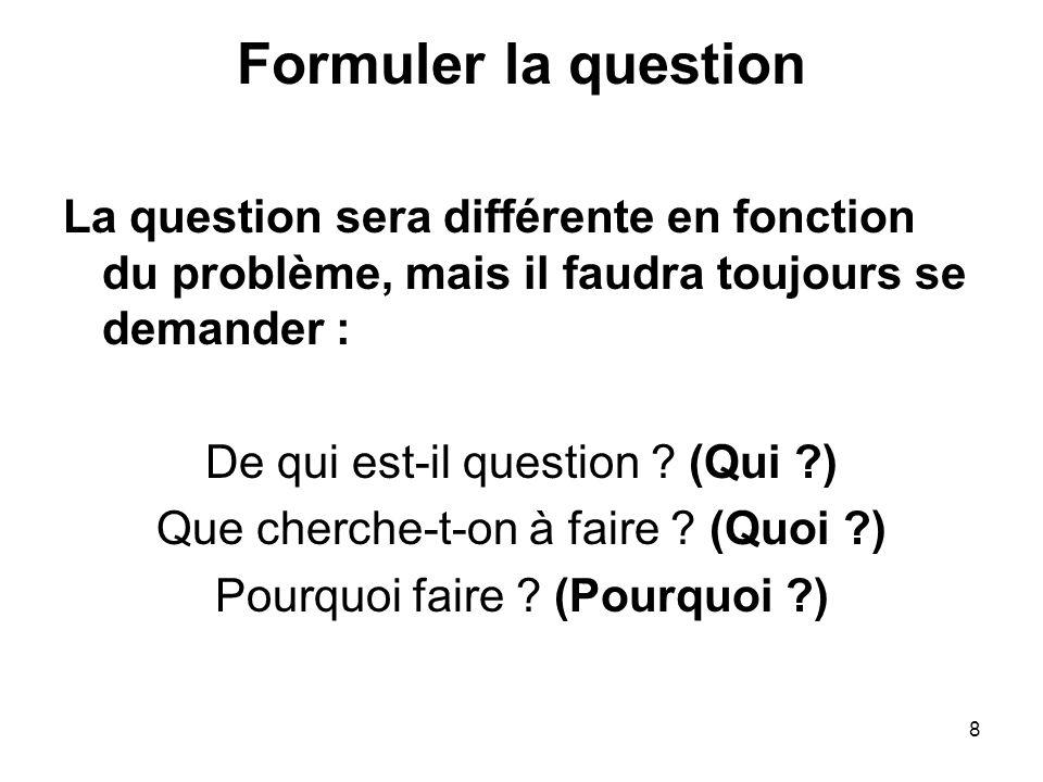 8 Formuler la question La question sera différente en fonction du problème, mais il faudra toujours se demander : De qui est-il question ? (Qui ?) Que