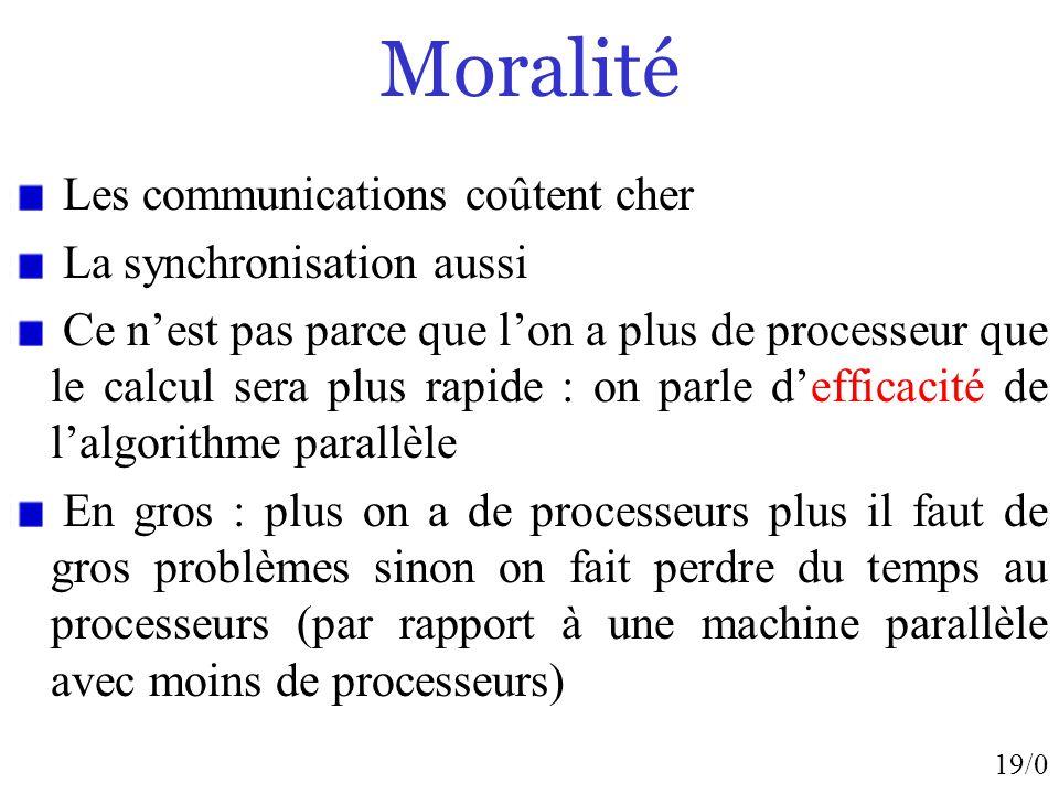 19/0 Moralité Les communications coûtent cher La synchronisation aussi Ce nest pas parce que lon a plus de processeur que le calcul sera plus rapide :