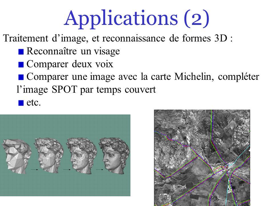 31/0 Applications (2) Traitement dimage, et reconnaissance de formes 3D : Reconnaître un visage Comparer deux voix Comparer une image avec la carte Mi