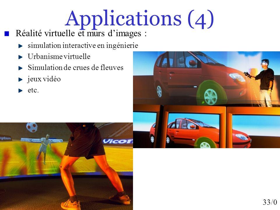 33/0 Applications (4) Réalité virtuelle et murs dimages : simulation interactive en ingénierie Urbanisme virtuelle Simulation de crues de fleuves jeux