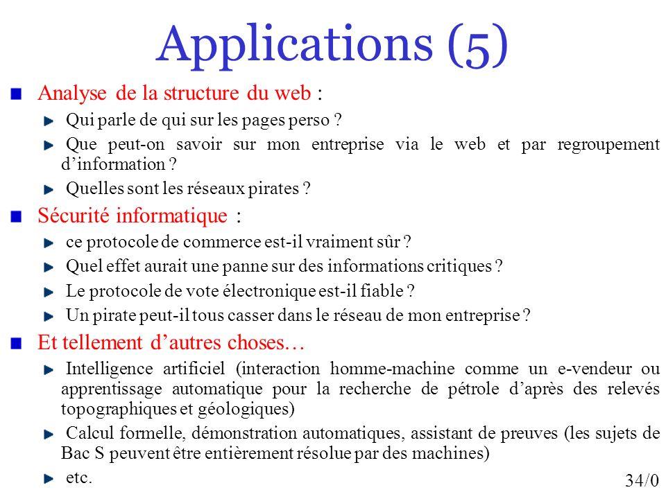 34/0 Applications (5) Analyse de la structure du web : Qui parle de qui sur les pages perso ? Que peut-on savoir sur mon entreprise via le web et par