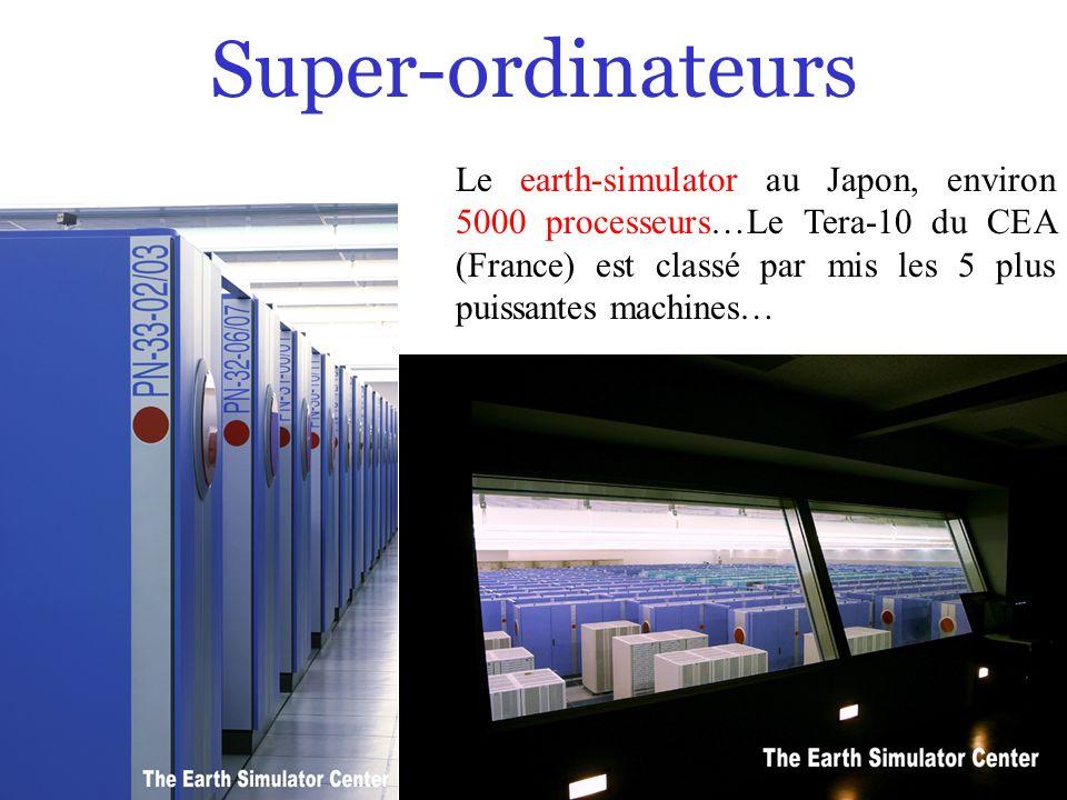 7/0 Super-ordinateurs Le earth-simulator au Japon, environ 5000 processeurs…Le Tera-10 du CEA (France) est classé par mis les 5 plus puissantes machin