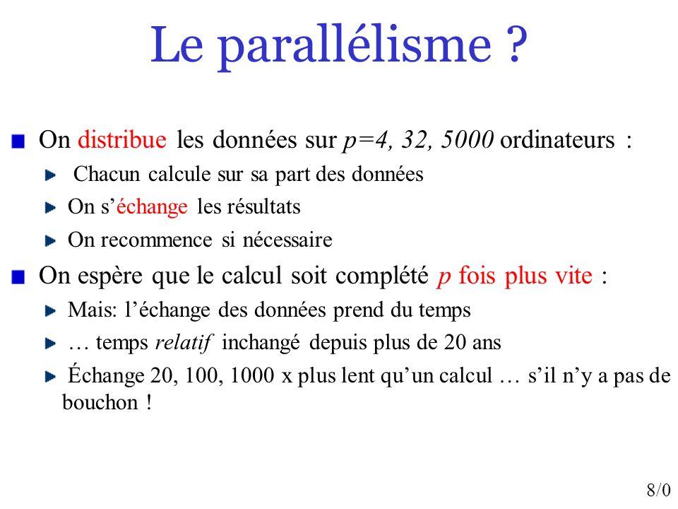 8/0 Le parallélisme ? On distribue les données sur p=4, 32, 5000 ordinateurs : Chacun calcule sur sa part des données On séchange les résultats On rec