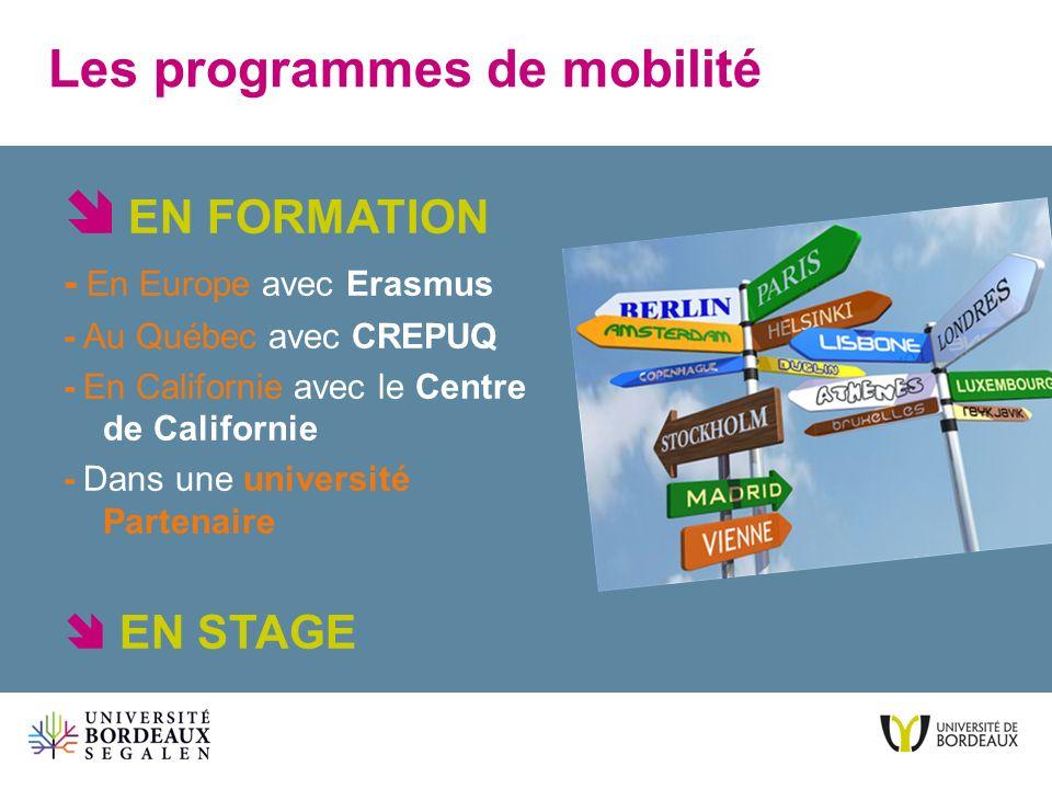 Les programmes de mobilité EN FORMATION - En Europe avec Erasmus - Au Québec avec CREPUQ - En Californie avec le Centre de Californie - Dans une unive