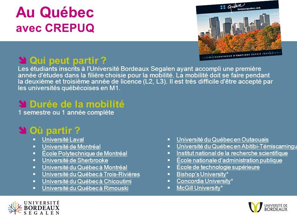 Au Québec avec CREPUQ Université du Québec en Outaouais Université du Québec en Abitibi-Témiscamingue Institut national de la recherche scientifique É