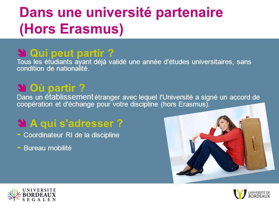 Dans une université partenaire (Hors Erasmus) Qui peut partir ? Tous les étudiants ayant déjà validé une année d'études universitaires, sans condition