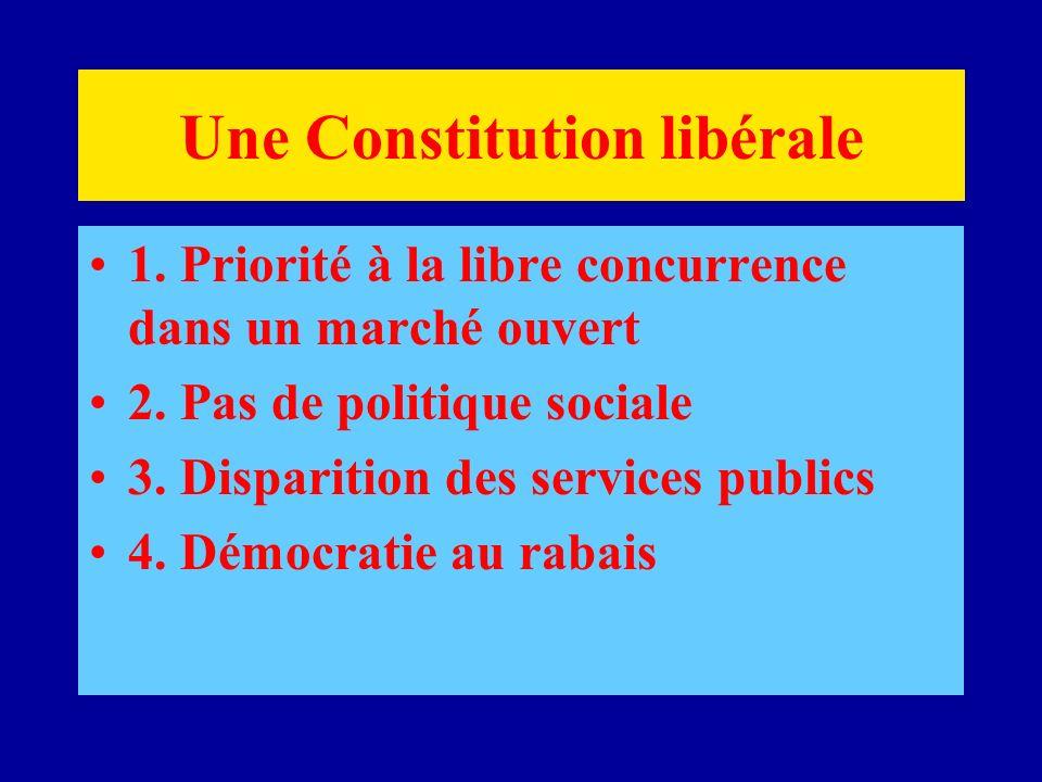 Une Constitution libérale 1. Priorité à la libre concurrence dans un marché ouvert 2.