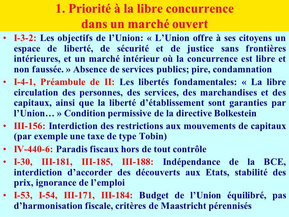 1. Priorité à la libre concurrence dans un marché ouvert I-3-2: Les objectifs de lUnion: « LUnion offre à ses citoyens un espace de liberté, de sécuri
