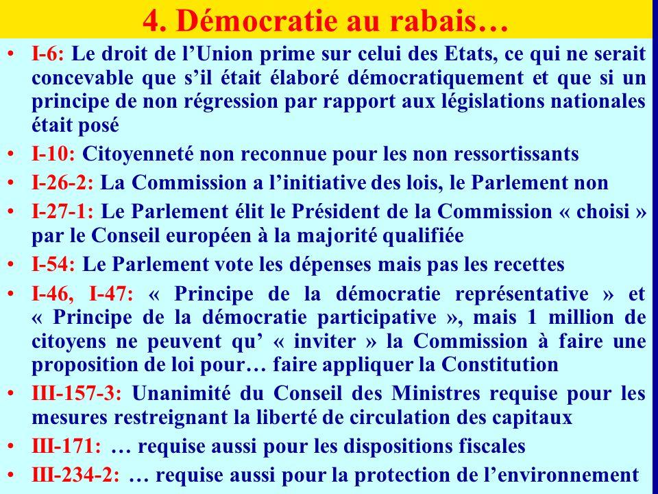 4. Démocratie au rabais… I-6: Le droit de lUnion prime sur celui des Etats, ce qui ne serait concevable que sil était élaboré démocratiquement et que