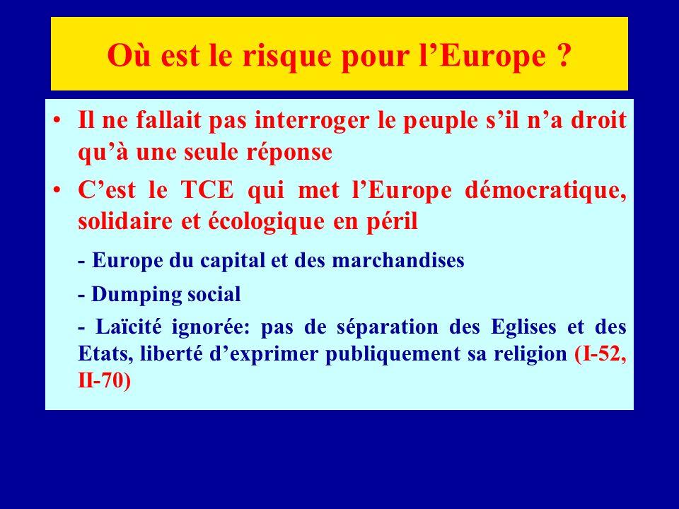 Où est le risque pour lEurope .
