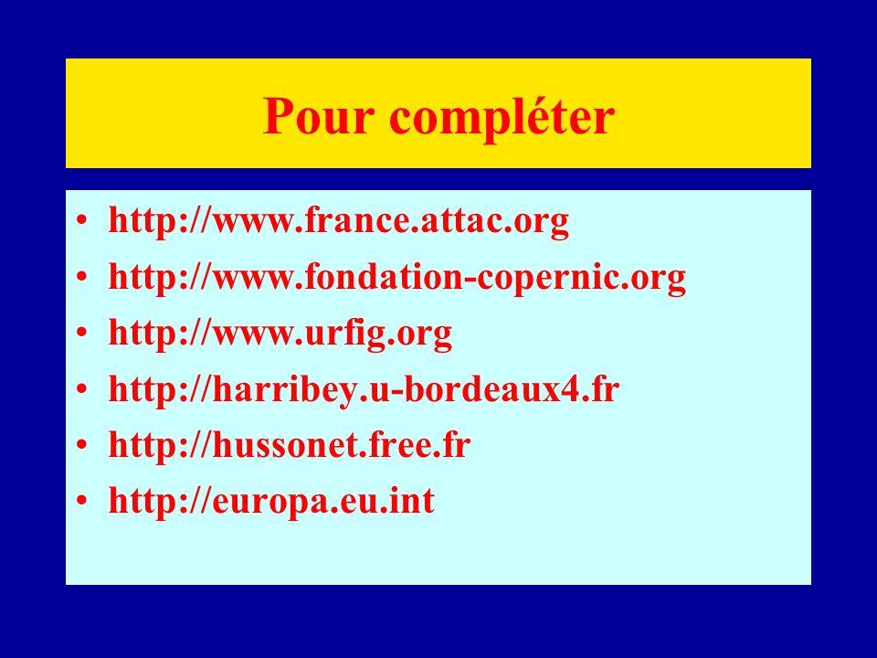 Pour compléter http://www.france.attac.org http://www.fondation-copernic.org http://www.urfig.org http://harribey.u-bordeaux4.fr http://hussonet.free.fr http://europa.eu.int