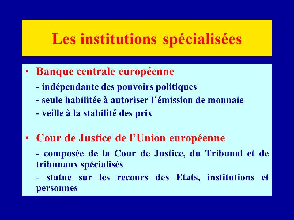 Les institutions spécialisées Banque centrale européenne - indépendante des pouvoirs politiques - seule habilitée à autoriser lémission de monnaie - veille à la stabilité des prix Cour de Justice de lUnion européenne - composée de la Cour de Justice, du Tribunal et de tribunaux spécialisés - statue sur les recours des Etats, institutions et personnes