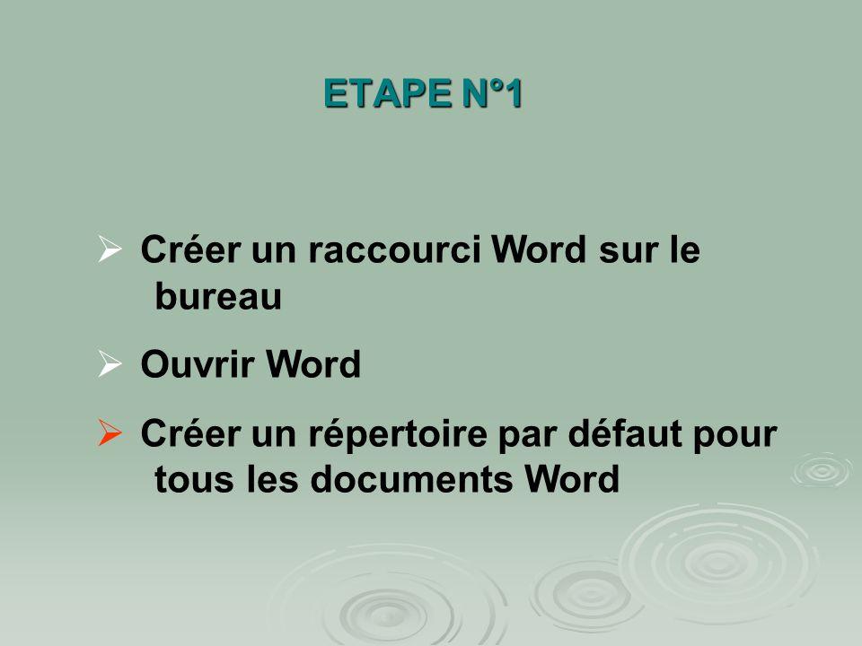 ETAPE N°1 Créer un raccourci Word sur le bureau Ouvrir Word Créer un répertoire par défaut pour tous les documents Word