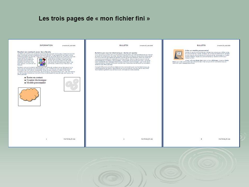 Le fichier « mon fichier fini» : Le fichier « mon fichier fini» : En tête Pied de page Marge gauche Liste à puces Image importée Numéro de page automa