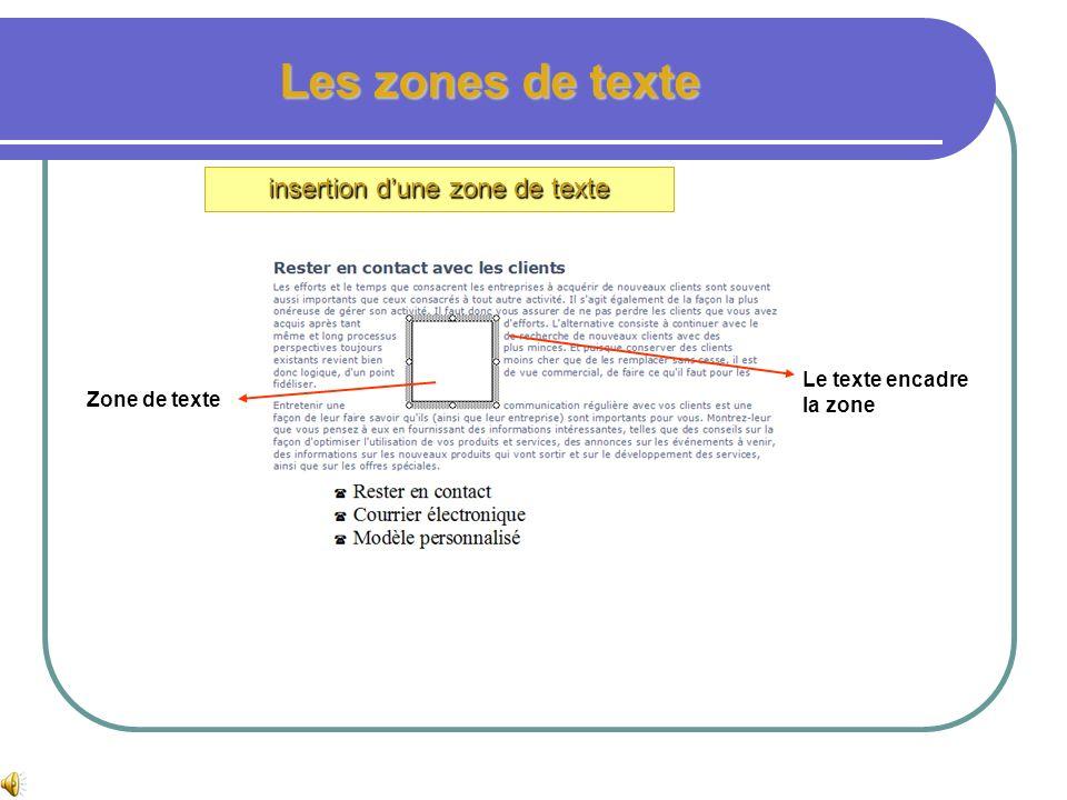 Les zones de texte insertion dune zone de texte Ouvrir le fichier atelier 3 Ouvrir le menu insertion puis zone de texte Placer le curseur dans le text