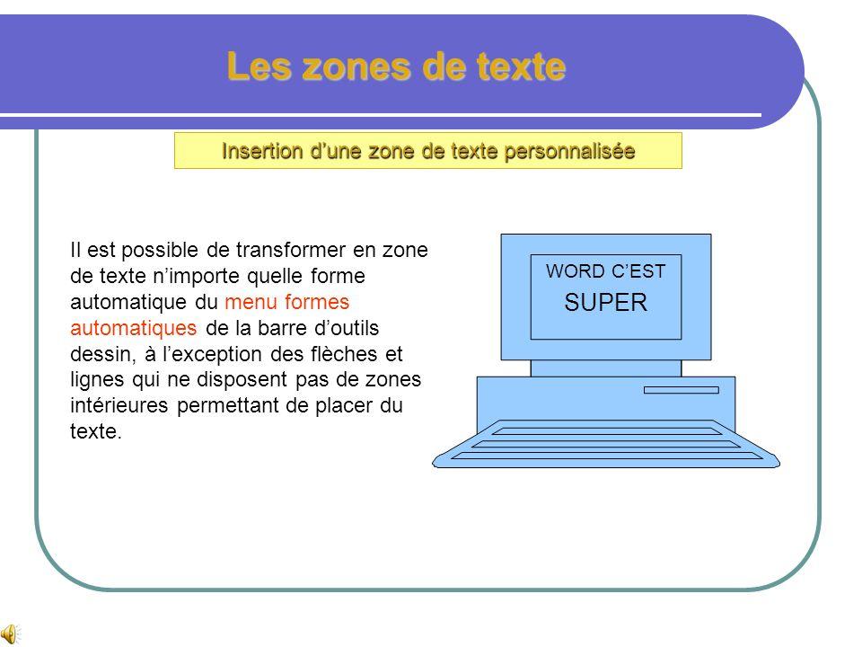 Les zones de texte Mise en page dune zone de texte En cliquant à droite sur la zone de texte, on fait apparaître un menu contextuel permettant daccéde