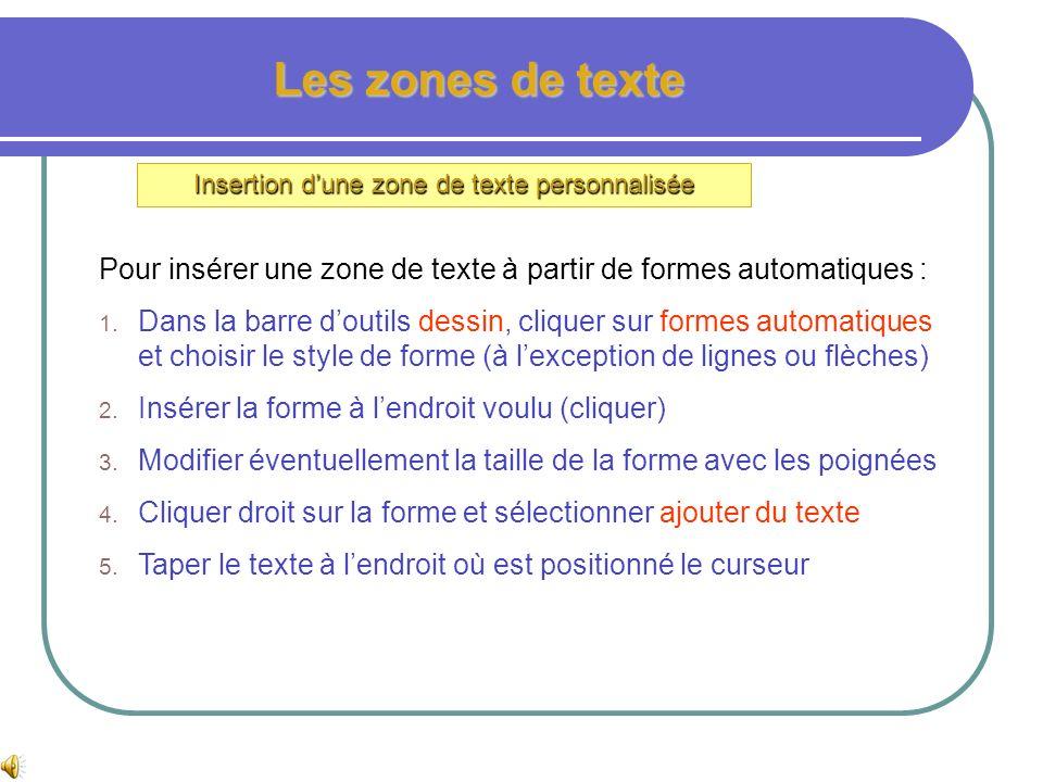 Les zones de texte Insertion dune zone de texte personnalisée