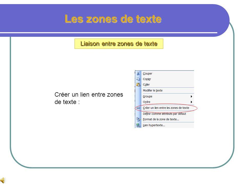 Les zones de texte Dans certaines publications, il est parfois nécessaire de répartir du texte en des endroits différents, ou dans des colonnes de dim