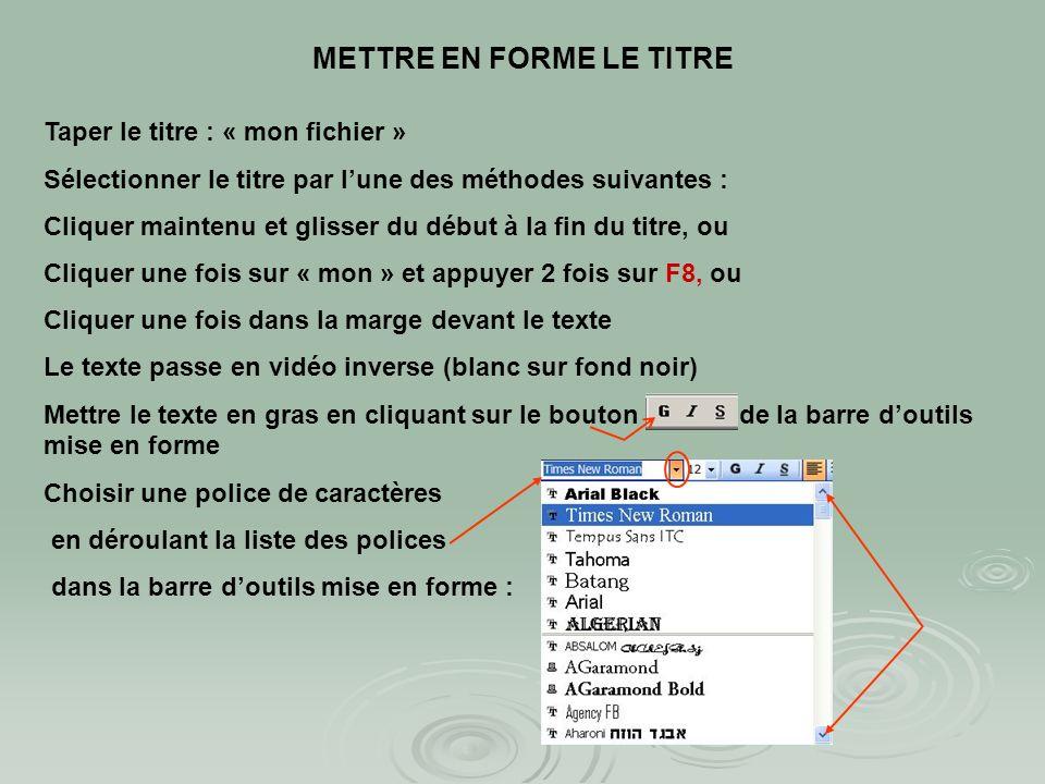 Atelier N°1 : création de la page de titre Télécharger le fichier « mon fichier début» Télécharger le fichier « mon fichier début» Placer le curseur a