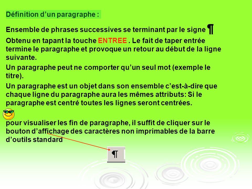 Atelier N°2 : mise en forme de paragraphes La mise en forme de paragraphes comprend : Les alignements : gauche, droite, centré ou justifié Les retrait