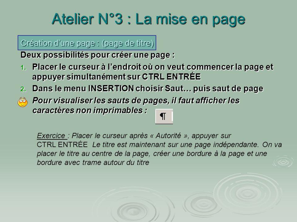 Atelier N°3 : La mise en page Créer une page manuellement (exemple de page de titre) Créer une page manuellement (exemple de page de titre) Créer une