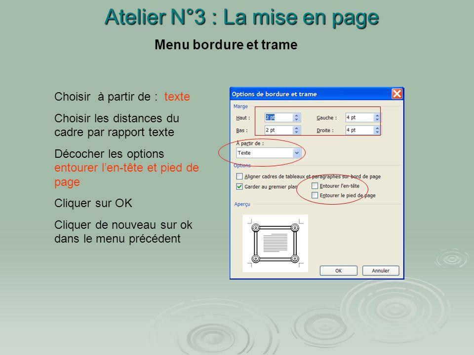 Atelier N°3 : La mise en page Création dune page : (page de titre) Deux possibilités pour créer une page : 1. Placer le curseur à lendroit où on veut